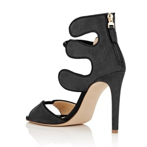 Women's Black Open Toe Strappy Hollow Out  Stiletto Heels  Sandals