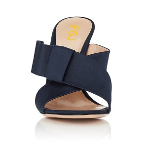Women's Navy Open Toe Chunky Heels Formal Mule Sandals