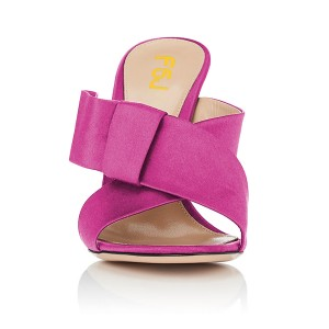 FSJ Fuchsia Satin Bow Mule Heels Open Toe Office Chunky Heels