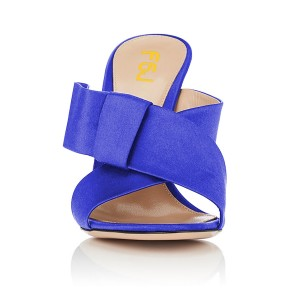 FSJ Royal Blue Satin Bow Mule Heels Open Toe Office Chunky Heels
