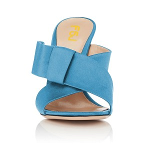 Women's Light Blue Open Toe Chunky Heels Formal Mule Sandals