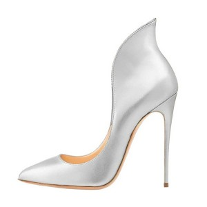 Silver Evening Shoes Stiletto Heels Collar Pumps