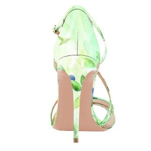Women's Green Floral Heels Cross Over Stiletto heel Sandals