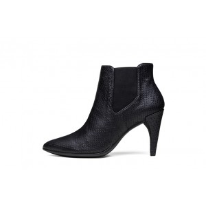 Black Chelsea Boots Pointy Toe Heeled Ankle Booties for Women