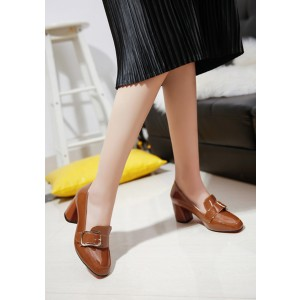 Women's Khaki Patent Leather Square Toe Chunky Commuting Vintage Heels