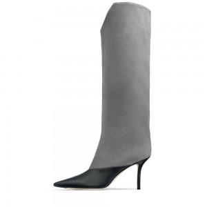Grey Suede Stiletto Boots Pointed Toe Calf-Length Boots