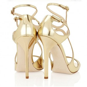 Gold Strappy Sandals Open Toe Mirror Leather Stiletto Heels for Ladies