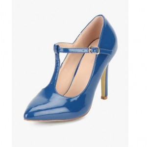 Women's Blue Stiletto T-Strap Heels Pumps Shoes