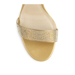Women's Light Golden Open Toe Rhinestone Decorated Ankle Strappy Stiletto Heel Sandals