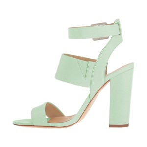 Women's Mint Green Ankle Strap Slingback 4 Inches Chunky Heel Sandals