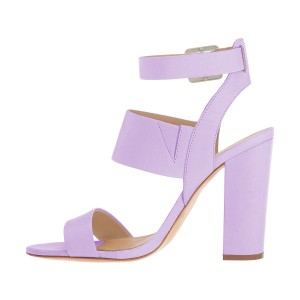 Purple Ankle Strap Slingback 4 Inches Chunky Heel Sandals
