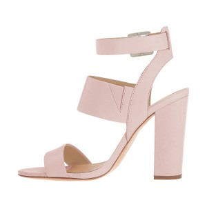 Pink Ankle Strap Sandals 4 Inches Chunky Heels Slingback Shoes