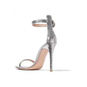 Women's Silver Open Toe Sequined Decorated Wedding Ankle Strappy Stiletto Heel Sandals