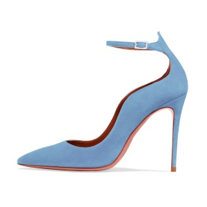 Women's Light Blue Suede Ankle Strap Heels Stiletto Heel Pumps
