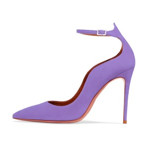 Women's Violet Suede Ankle Strap Heels Stiletto Heel Pumps