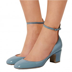 Blue Round Toe Block Heel Ankle Strap Pumps for Ladies