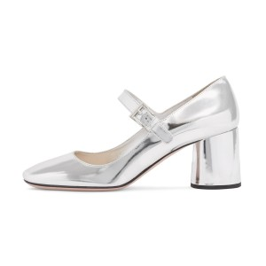 Silver Mirror Mary Jane Pumps Square Toe Chunky Heels by FSJ
