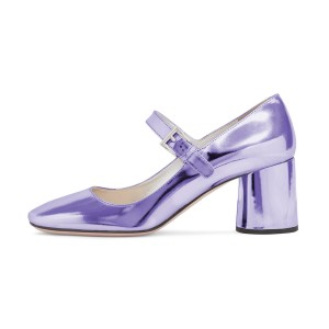 Women's Purple Mary Jane Pumps Square Toe Chunky Heels by FSJ