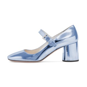 Women's Light Blue Square Toe Chunky Heels Mary Jane Pumps Shoes