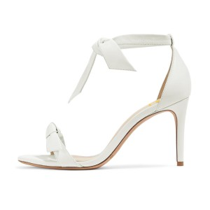 White Bow Stiletto Heel Ankle Strap Sandals for Women