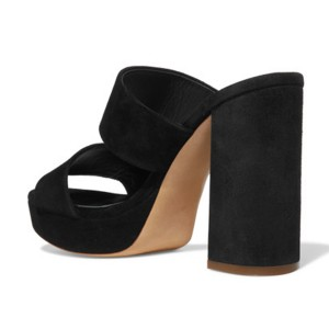 Black Suede Mule Heels Open Toe Chunky Heels for Office Lady