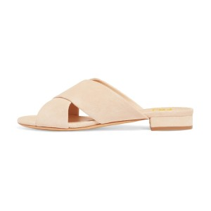 On Sale Nude Suede Shoes Women's Slide Sandals