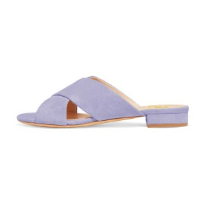 On Sale Lilac Suede Shoes Women's Slide Sandals