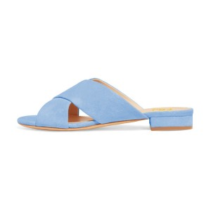 Women's Light Blue Suede Mule Chunky Heel Sandals