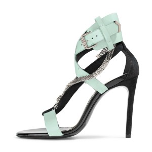 Turquoise Metal 4 Inches Buckle Stilettos Sandals