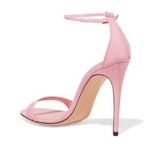 FSJ Pink Ankle Strap Sandals Open Toe Stiletto Heel Office Shoes