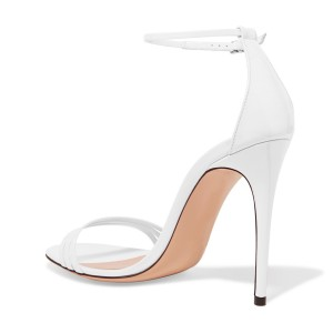 Women's White 4 Inches Stiletto Heels Open Toe Ankle Strap Sandals