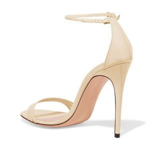 Women's Nude Stiletto Heels Open Toe Ankle Strap Sandals