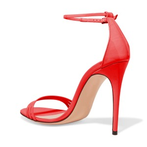 FSJ Red Ankle Strap Sandals Open Toe Stiletto Heel Office Shoes