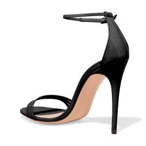 Black 4 Inches Stiletto Heels Open Toe Ankle Strap Sandals