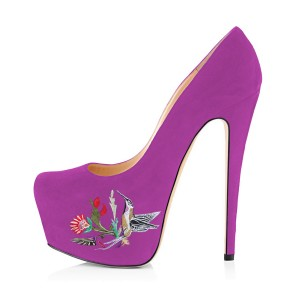 Women's Orchid Embroidery Platform Heels Stiletto Pumps