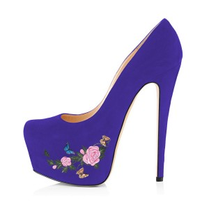 Women's Purple Suede Flora Butterfly Printed Platform Heels Stiletto Pumps
