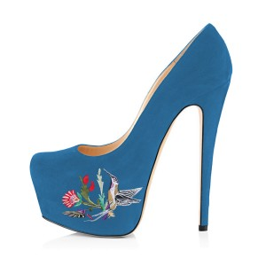 Women's Blue Embroidery Platform Heels Stiletto Pumps