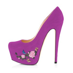 Women's Orchid Suede Flora Butterfly Printed Platform Heels Stiletto Pumps