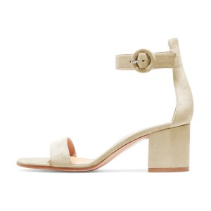 Women's Champagne Suede Chunky Heel Ankle Strap Sandals