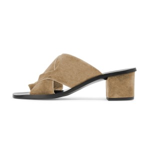 Women's Brown Suede Mule chunky Heel Sandals