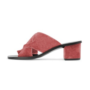 Women's Plum Suede Chunky Heel Sandals