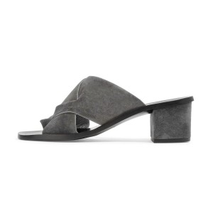 Women's Grey Suede Chunky Heel Sandals