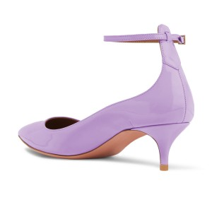 Light Purple Kitten Heels Pointed Toe Ankle Strap Heels Pumps
