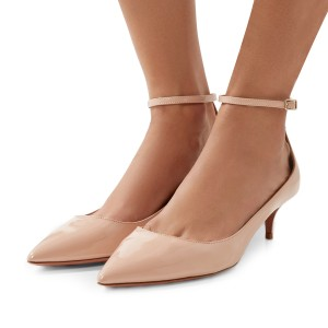 Blush Patent Leather Pointed Toe Ankle Strap Kitten Heels Shoes