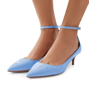 Women's Blue Patent Leather Pointed Toe Ankle Strap Kitten Heels Shoes