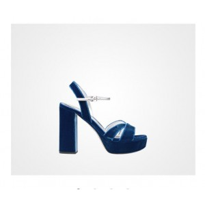 Custom Made Cobalt Blue and Silver Two Tone Chunky Heel Sandals