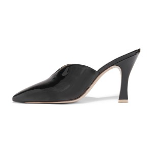 Women's Black Pointy Toe Kitten Heels Mule Pumps