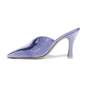 Women's Navy Pointy Toe Glazed Leather Mule Kitten Heels Pumps