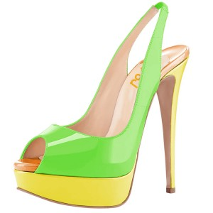 FSJ Lime Patent Leather Slingback Pumps Peep Toe Chunky Heel Pumps