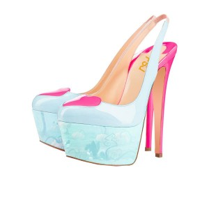 Light Blue and Hot Pink Patent Leather Heart Platform Slingback Pumps